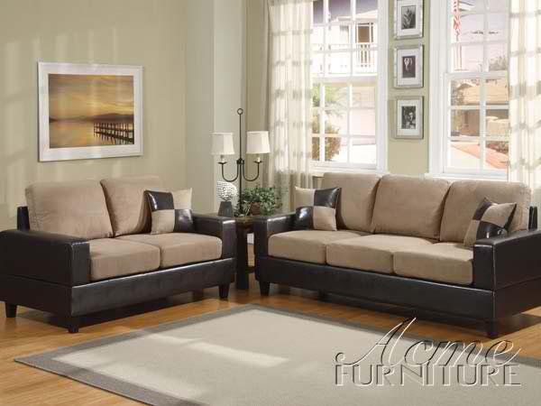 Acme Furniture Living Room Saddle Easy Rider And Espresso Bicast Sofa Set 15306 Set
