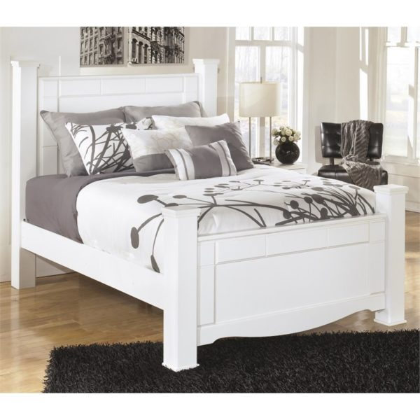 Ashley Weeki Wood Queen Poster Panel Bed In White B270 Lisys Discount Furniture