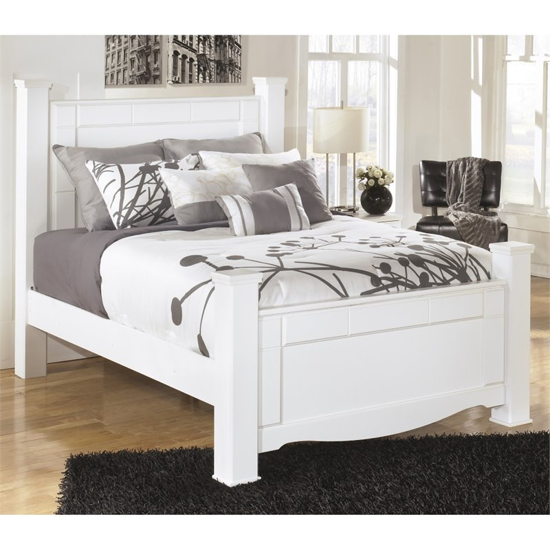 Ashley Discount Furniture Store: Ashley Weeki Wood Queen Poster Panel Bed In White B270