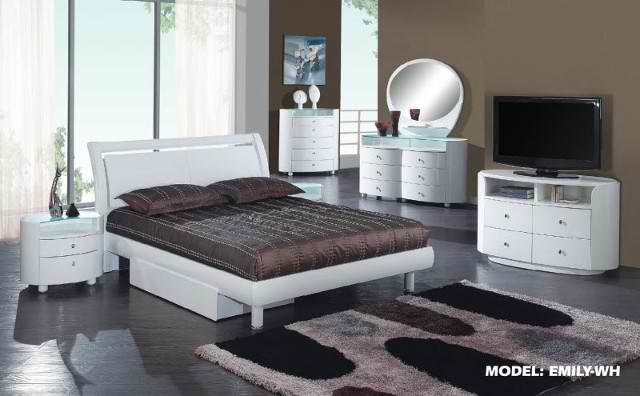 emily platform bedroom collection white global furniture