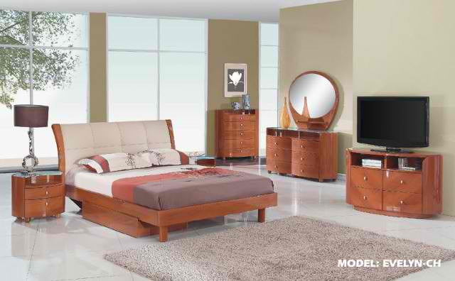 Evelyn Cherry Glossy Bedroom Set By Global Furniture
