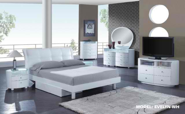 Evelyn Platform Bedroom Set – White – Global Furniture